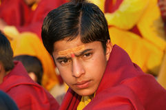 Young novice on Ganga Aarti ceremony in Parmarth Niketan ashram Royalty Free Stock Photography