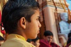 Young novice on Ganga Aarti ceremony in Parmarth Niketan ashram Stock Photos