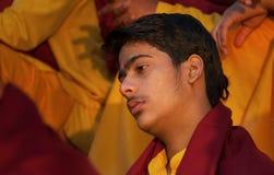 Young novice on Ganga Aarti ceremony in Parmarth Niketan ashram Royalty Free Stock Photos