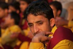 Young novice on Ganga Aarti ceremony in Parmarth Niketan ashram Royalty Free Stock Image