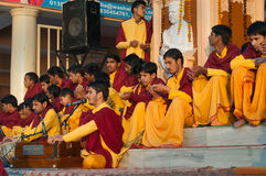 Young novices on Ganga Aarti ceremony in Parmarth Niketan ashram Stock Photos