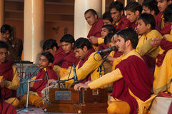 Young novices on Ganga Aarti ceremony in Parmarth Niketan ashram Stock Photography