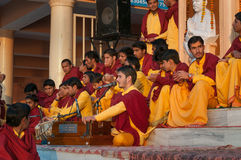 Young novices on Ganga Aarti ceremony in Parmarth Niketan ashram Royalty Free Stock Photos