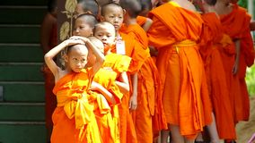 Young novices were set into a line. Chiang Mai, Thailand - APRIL 13, 2015: Young novices were set into a line, April 13, 2015 in Chiang Mai, Thailand stock video footage