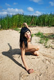 Young nude girl smiling Royalty Free Stock Photography