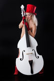 Young Nude Woman With Contrabass Royalty Free Stock Photography