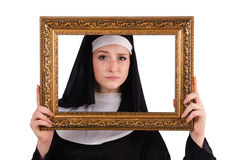 Young nun with frame isolated Royalty Free Stock Images