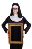 Young nun with frame isolated Stock Photos