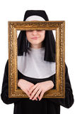 Young nun with frame isolated Royalty Free Stock Photo