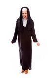 Young nun looking frustrated and shouting Royalty Free Stock Image