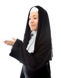 Young nun offering hand for handshake Royalty Free Stock Images