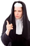 Young nun pointing Royalty Free Stock Images