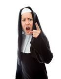 Young nun scolding Stock Photo