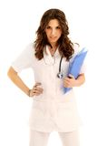 Young nurse. Beautiful young nurse standing an holding a act royalty free stock photos