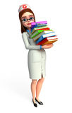 Young Nurse with books pile Stock Image