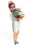 Young Nurse with books pile Stock Images