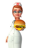 Young Nurse with burger Royalty Free Stock Images