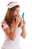 Young nurse with a disposable syringe. Young sexy nurse with a disposable syringe Royalty Free Stock Photo