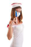 Young nurse with a disposable syringe. Young sexy nurse with a disposable syringe Stock Photos