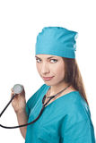 Young nurse in green uniform. Medical personnel Royalty Free Stock Image