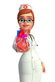 Young Nurse with heart anatomy Royalty Free Stock Image