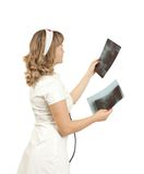 Young nurse lady with x-ray picture Stock Photos
