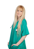 Young nurse with long hair royalty free stock image