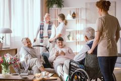 Young nurse taking handicapped senior man on the wheelchair to his friends royalty free stock images