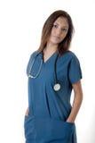 Young nurse on white Royalty Free Stock Photos