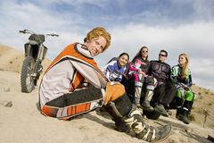 Young Off Road Motor Biker Smiling Royalty Free Stock Images