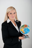 Young office busines woman holding a globe Stock Images