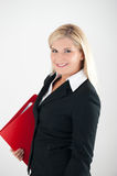 Young office business woman with red folder Royalty Free Stock Photos