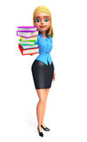 Young office girl with book pile Royalty Free Stock Photos