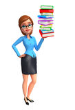 Young office girl with book pile Royalty Free Stock Images