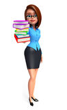 Young office girl with book pile Stock Image