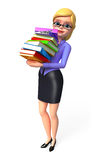Young Office girl with books pile Stock Photo