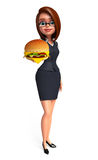 Young office girl with burger Royalty Free Stock Images