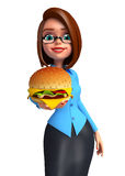 Young office girl with burger Stock Photography