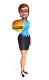 Young office girl with burger Stock Image