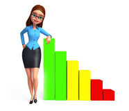 Young Office Girl with business graph Stock Photos