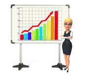 Young office girl with business graph Royalty Free Stock Images