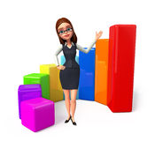 Young office girl with business graph Stock Photo