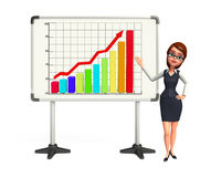 Young office girl with business graph Royalty Free Stock Photography