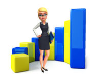 Young office girl with business graph Stock Image