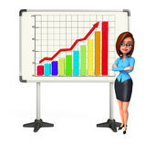 Young office girl with business graph Royalty Free Stock Photo