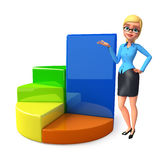Young office girl with business graph Stock Images