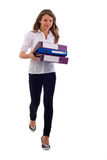 Young Office Girl With Documents. Stock Photo