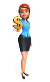 Young office girl with dollar sign Royalty Free Stock Photo