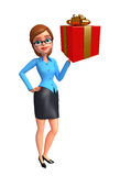 Young office girl with gift box Stock Image