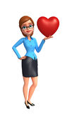 Young office girl with heart Stock Images